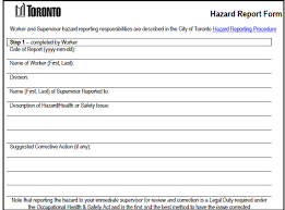 City Of Toronto Human Resources Policy Hazard Reporting
