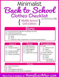 best back to school tips ideas school study   printable mini st back to school clothes checklist for middle school girls