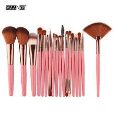 maange 18pcs set makeup brushes tools kit power foundation blush eye shadow blending fan cosmetic