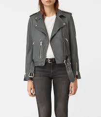 grey leather biker jackets allsaints balfern leather biker jacket