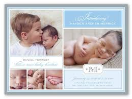 Sibling Birth Announcement Birth Announcement Scripted Introduction Boy Square Corners Blue