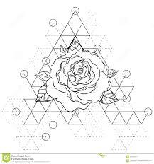 вспышка татуировки Blackwork розовый цветок над священной геометрией