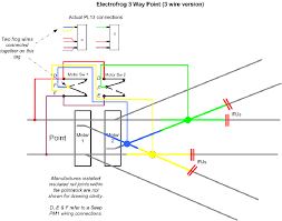 electrical page  some 3 way points are supplied two wires from the frogs as shown in the top drawing these are wired similarly to the three wire type directly above