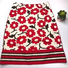 Boden Red Floral Skirt Size 10 Uk 6 Us