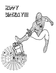Small Picture Spiderman Giving Birthday Gifts Coloring Page H M Coloring Pages