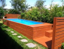 square above ground pool. Wooden Backyard Above Ground Small Pool Decoration Combined With Natural Green Garden And Grass Around Create A Nuance Square