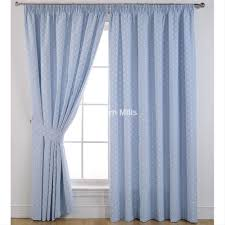 dotty powder blue thermal black out pencil pleat curtains