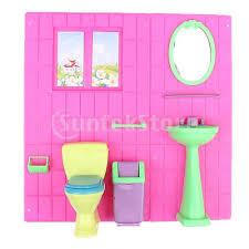 Barbie Doll House Furniture Bathroom Set Toilet and Wash Basin