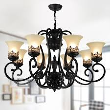8 light black wrought iron chandelier with glass shades dk 6318 8s
