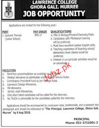Lawrence College Ghora Gali Female Lecturers Jobs