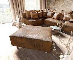 Couch Clovis Xl Braun Antik Optik Mit Hocker Wohnlandschaft
