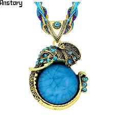handmade chain crystal resin elephant pendant necklace for women vintage
