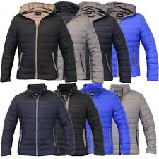 Mens Padded Jacket Coat Quilted Hooded Funnel Neck Zip Lined ... & Mens-Padded-Jacket-Coat-Quilted-Hooded-Funnel-Neck- Adamdwight.com