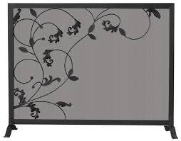 iron fireplace screen. 39\u0027\u0027 Single Panel Black Wrought Iron Fireplace Screen With Flowing Leaf Design