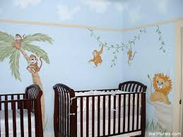 jungle wall mural for twins nursery
