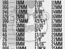 Ear Plug Size Chart Gauge Chart 2 Correct One Actual Size Image Plug Earring