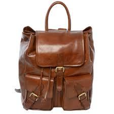 leather backpack rucksack chestnut