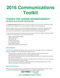 givingtuesday communications toolkit  givingtuesday 2016 communications toolkit