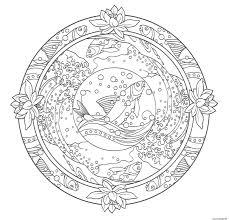 Coloriage Mandala Ocean Poisson Adulte Art Therapie Dessin