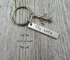 fly safe keychain pilot gift airplane keychain airplane