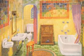 colorful floor tiles design. A Bathroom In A 1928 American Standard Catalog Is Radiant With Brightly Colored  Tile. Colorful Floor Tiles Design
