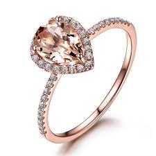 Design Your Own Morganite Engagement Ring 6x8mm Pear Shaped Morganite And Diamond Engagement Ring 14k
