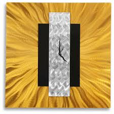 gold silver and black metal wall clock modern home decor art by