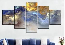 5 pc set blue yellow grey abstract cloud frame oil painting canvas prints wall art pictures on yellow blue and gray wall art with 5 pc set blue yellow grey abstract cloud frame oil painting canvas