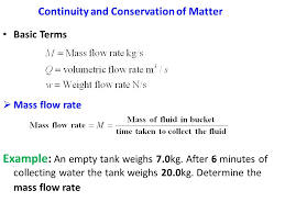 continuity and conservation of matter basic terms mass flow rate example an empty tank
