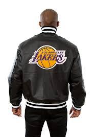 los angeles lakers mens black all leather jacket heavyweight jacket image 2