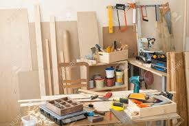 carpentry workshop. carpentry workshop with tools and supplies stock photo - 22101355 r