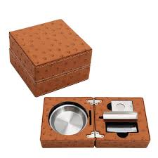 ostrich leather pattern smoke travel set table cigar ashtray cutter lighter cigar accessories gift sets