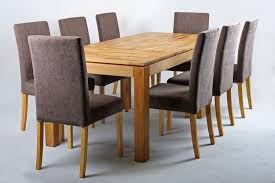 Solid Oak Extending Dining Table And Chairs Set Brown Leather Chair