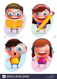 funny kids vector characters colorful collection reading book writing exploring and listening isolated in white background