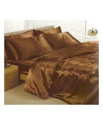 chocolate brown double duvet satin bed