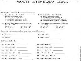 Solving Multi Step Equations Worksheet   Homeschooldressage.com