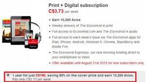 13 200 bonus avios when you subscribe to the economist canada or uk