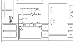 simple kitchen drawing. Pretty Inspiration Ideas Kitchen Coloring Page Simple Pages Easy Drawing