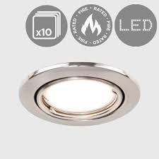 10 x brushed chrome tiltable gu10 fire rated downlight spotlights tilt ceiling