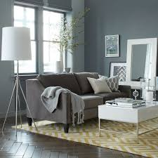 wall color gray couch yellow rug living room west elm living room rugs