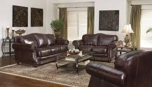 Traditional Living Room Furniture Dark Brown Leather Traditional Living Room W Nail Head Trim