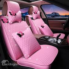 41 girly lovely pink color waterproof durable leather universal car seat cover