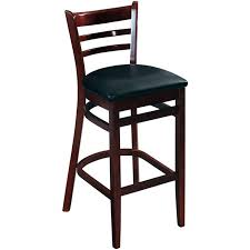 ladder back bar stool dark mahogany finish with a black vinyl seat