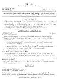 Telecom Sample Resume Telecom Resume Resumewriters Sample
