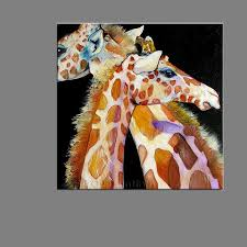 super big size handpainted hand painted funny lover giraffe oil