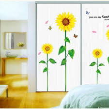 four sunflower home decor removable decals diy vinyl wall sticke