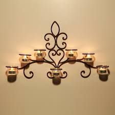 com asense hda012 iron and glass horizontal wall hanging candle holder sconce scolled vine detail holds 7 candle not include candle home