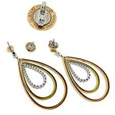 estate damiani 1 00ct round cut diamond 18k white yellow pink gold chandelier earrings