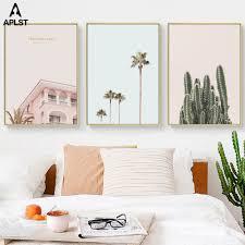 Pink Villa Cactus Sea Surfing <b>Palm Tree</b> Beach Wall Art Decor ...