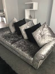 dfs black and silver crushed velvet sofa